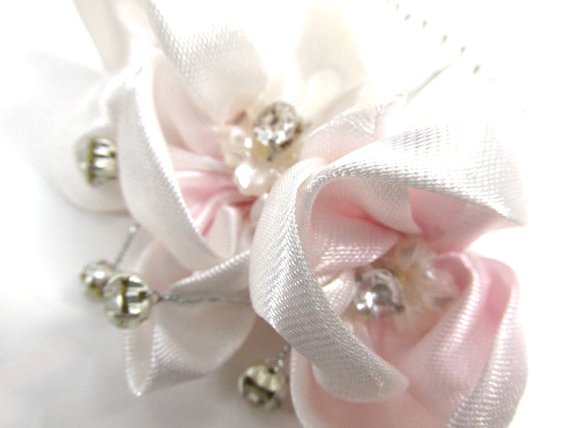 Small Blush Pink and Clear Rhinestone Silver Hair Comb - Odyssey Creations