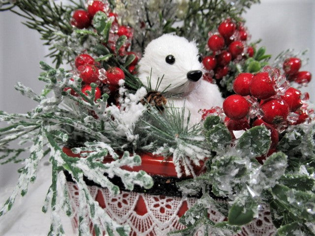 Baby Seal in Winter Wonderland Christmas Holiday Artificial Floral Arrangement - Odyssey Creations