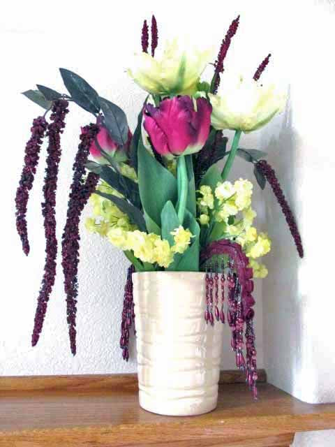 Burgundy Dark Plum and Light Yellow Silk Parrot Tulip Tall Weeping Floral Centerpiece Arrangement - Odyssey Creations