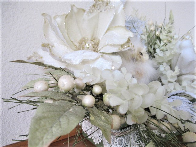 White Owls Ivory Magnolias and Sage Green Winter Wonderland Christmas Holiday Artificial Floral Arrangement - Odyssey Creations