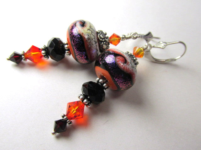 Orange, Black and Purple Lampwork Glass and Crystal Earrings on Sterling Silver - Odyssey Creations