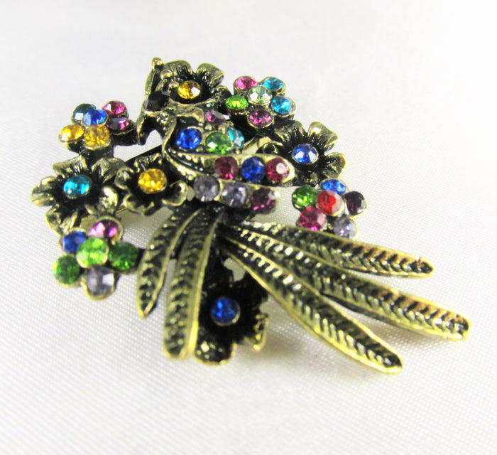 Small Multicolor Crystal Butterfly Brooch in Antique Gold - Odyssey Creations