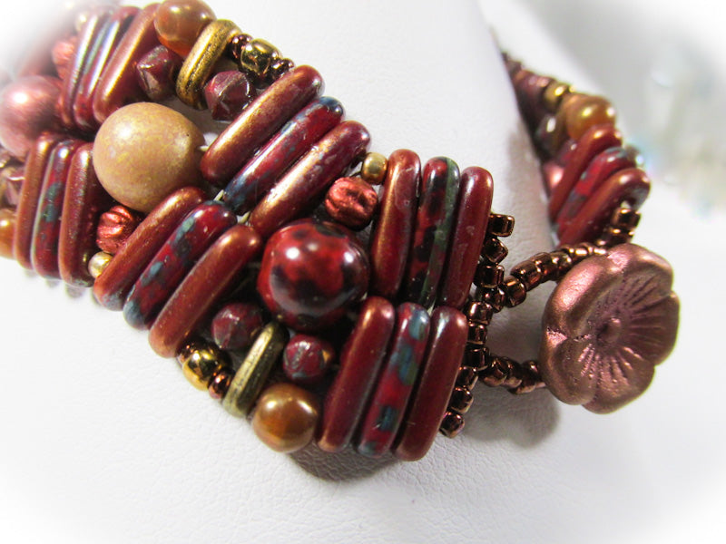 Dark Red, Copper and Gold Pebble Lane Beaded 7 Inch Bracelet with Flower Toggle Clasp - Odyssey Creations