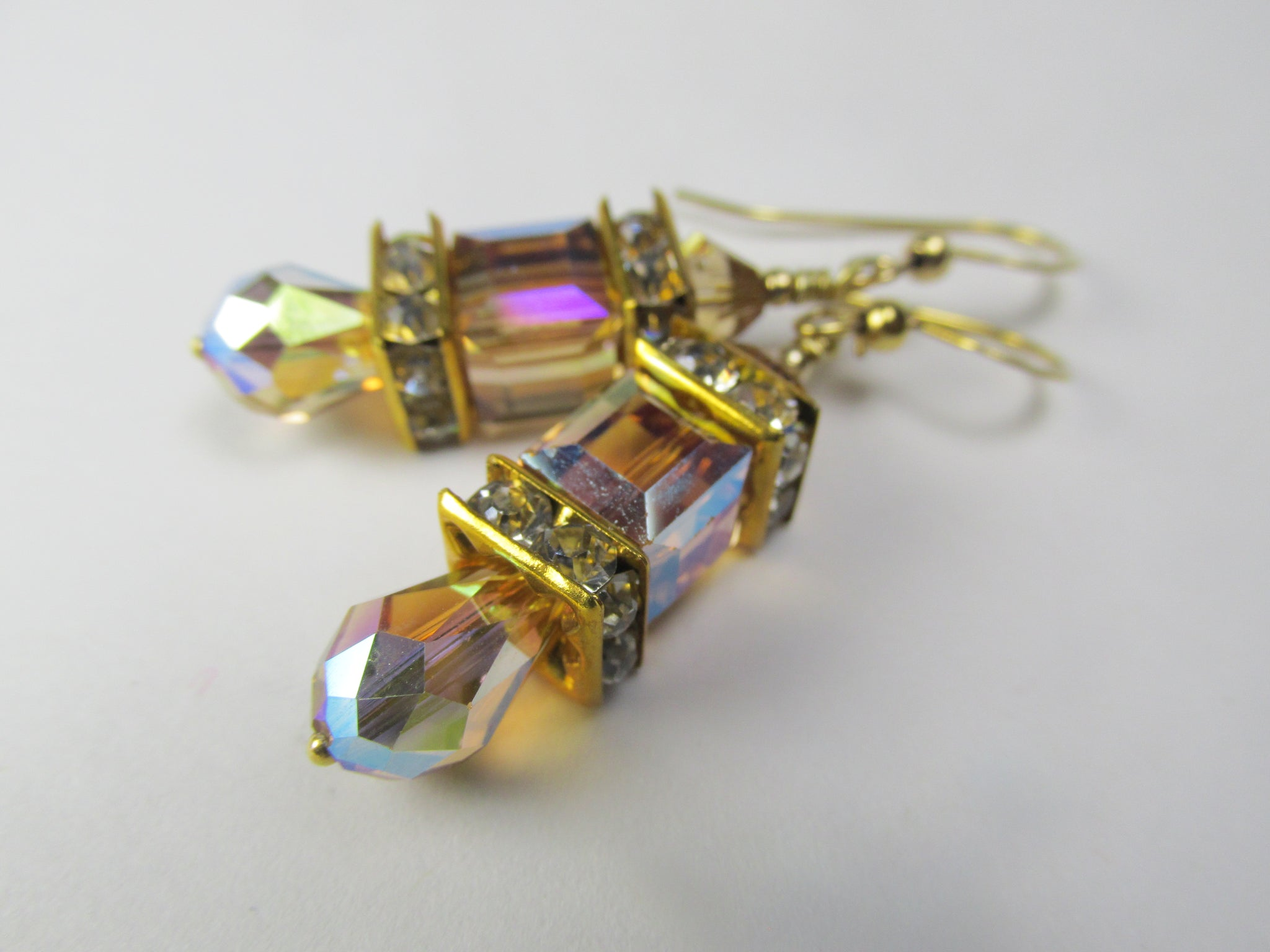 Petite Swarovski Crystal Cube Golden Topaz AB Cube Earrings on 14k Gold Fill Earring Wires - Odyssey Creations