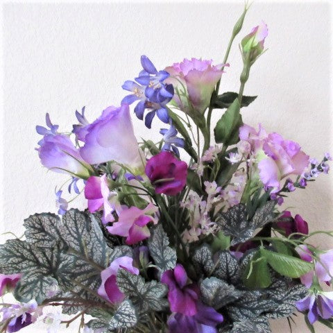 Purple, Lavender and White Realistic Spring Summer Floral Arrangement - Odyssey Creations