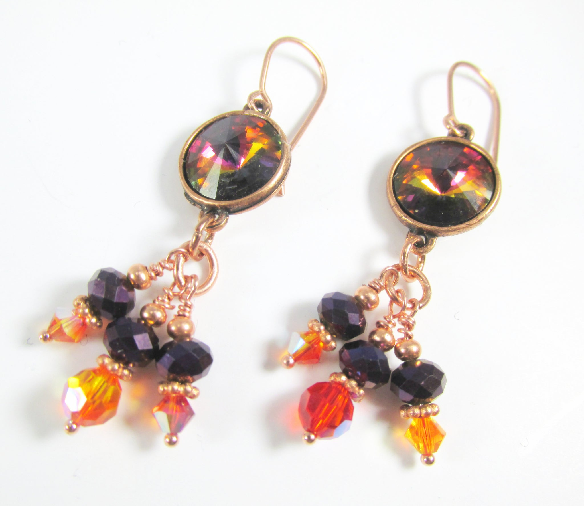 Swarovski Orange and Purple Necklace with Volcano Rivoli Crystals set in Copper