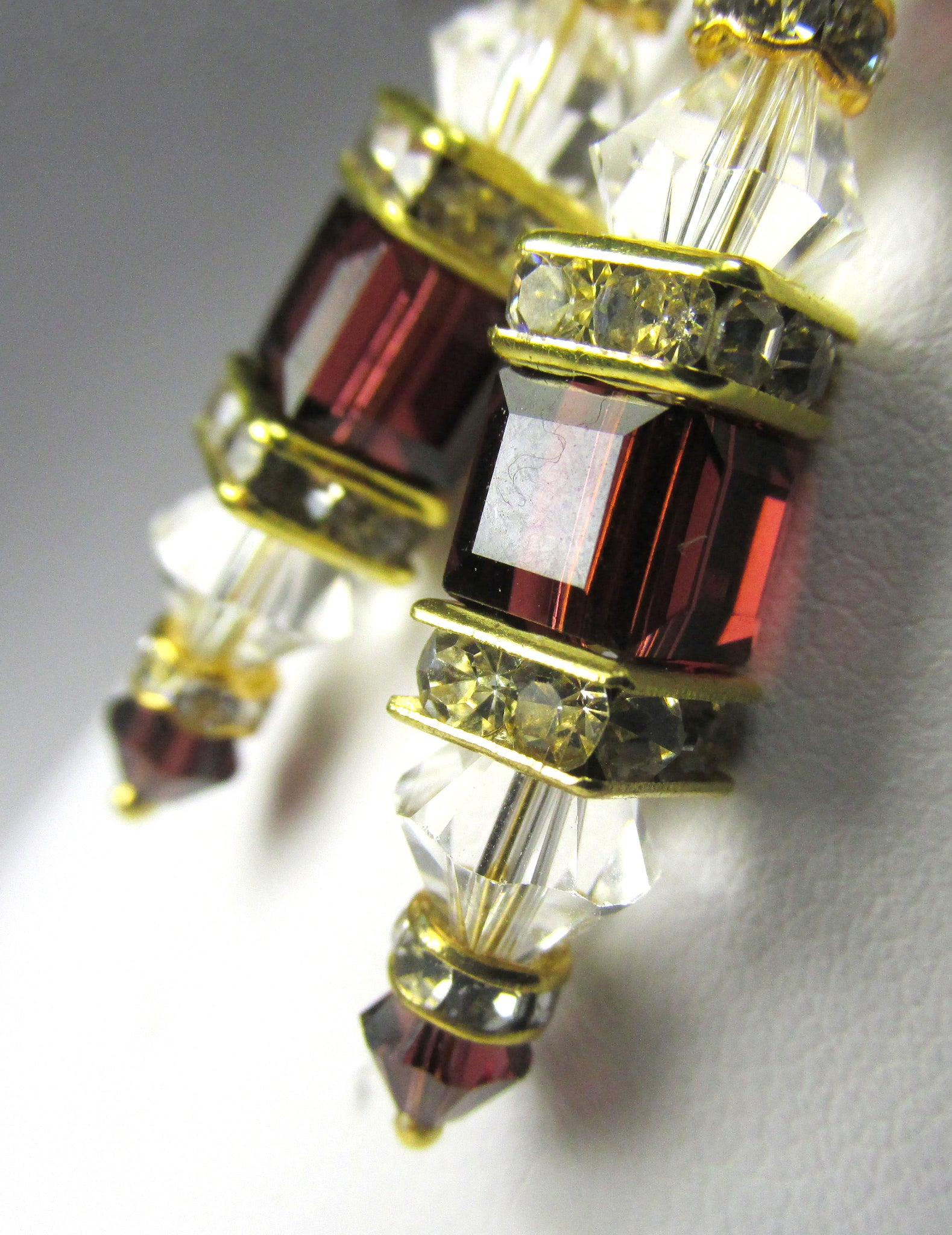 Burgundy and Clear Swarovski Crystal 6mm Cube Earrings on 14k Gold Fill Leverbacks - Odyssey Creations
