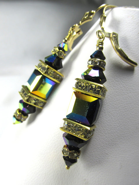 Jet Black AB Multicolor Swarovski Crystal 8mm Cube Earrings on 14k Gold Fill Leverbacks - Odyssey Creations