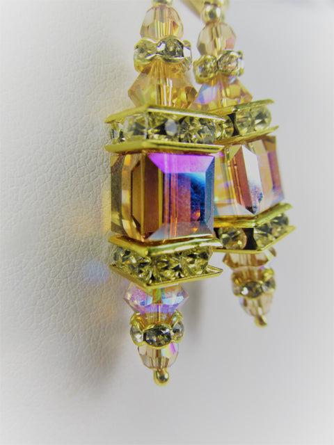 Light Golden Topaz AB Swarovski Cube Lantern Earrings on 14k Gold Fill Lever Backs - Odyssey Creations