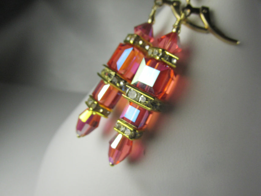 Sunset Coral AB Cube Earrings in Swarovski Crystal on 14k Gold Fill Lever Back Earring Wires - Odyssey Creations