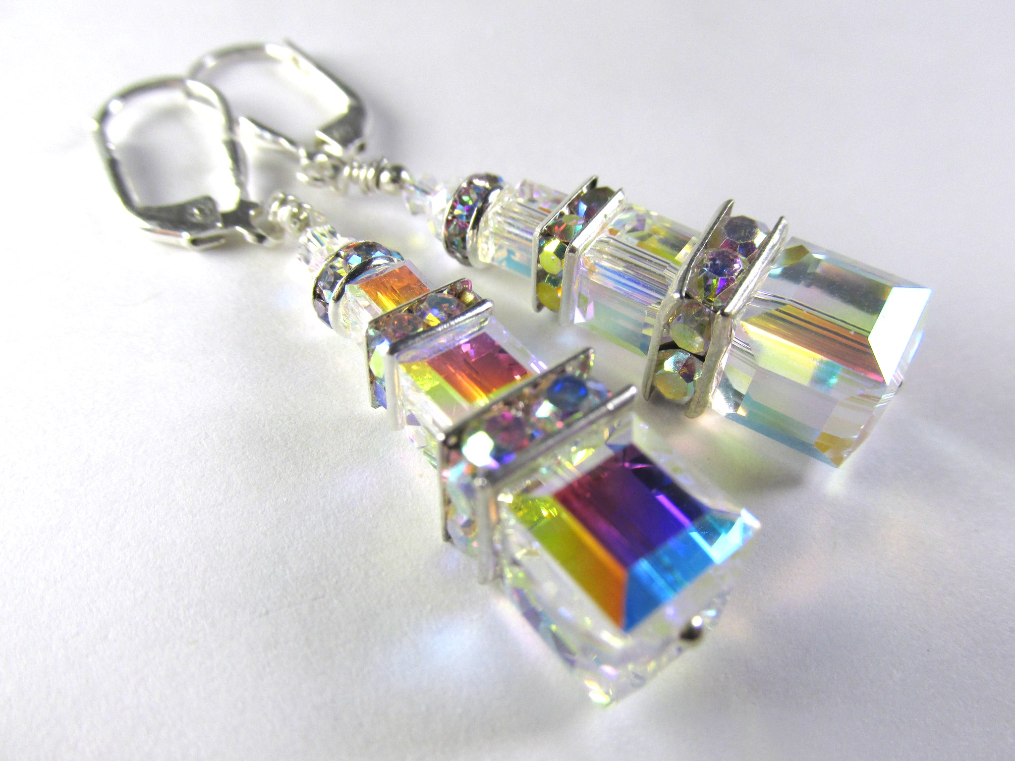 Crystal AB Triple Stack 8, 6, and 4mm Square Swarovski Crystal Earrings on Silver Fill Leverbacks - Odyssey Creations