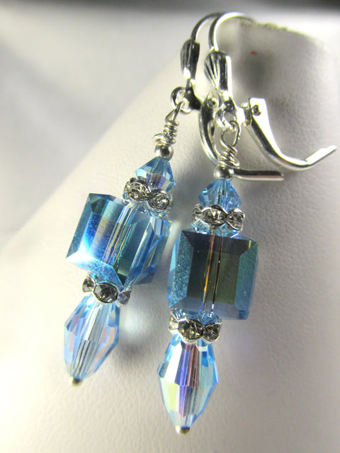 Dainty Aquamarine AB Swarovski 8mm Faceted Cube and Vintage Barrel Crystal Earrings in Silver - Odyssey Creations
