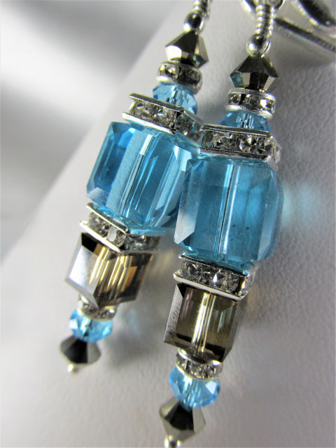 Sea and Sand Swarovski Crystal Double Cube Turquoise and Bronze Shade Earrings - Odyssey Creations