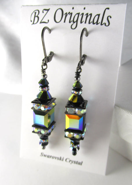 Jet Black AB Multicolor Swarovski Crystal 8mm Cube Earrings on Gunmetal Leverbacks - Odyssey Creations