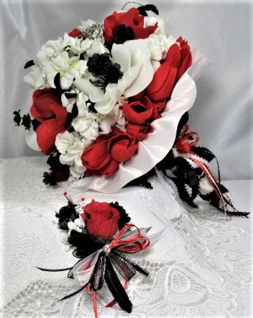 Red, White and Black Poppies Victorian Styled Traditional Beaded Bridal Heart Brooch Bouquet and Boutonniere Set - Ready to Ship - Odyssey Creations