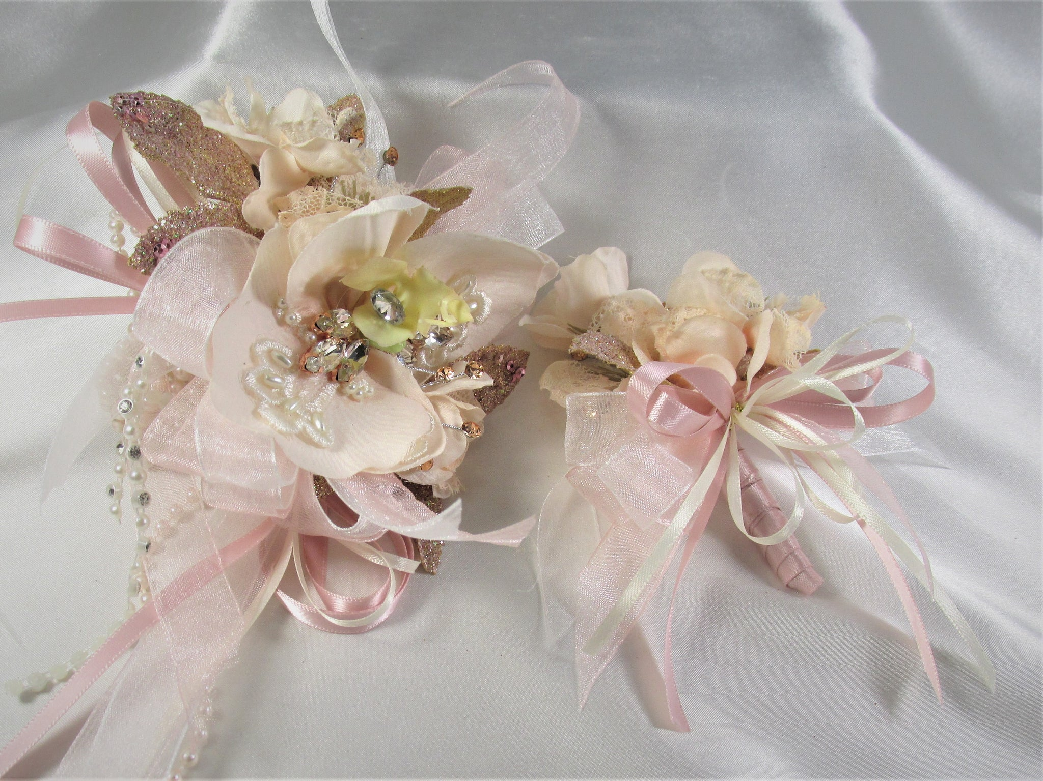 Blush Pink Rose Gold Orchid Stretch Pearl Wrist Corsage and Boutonniere Prom Set - Odyssey Creations