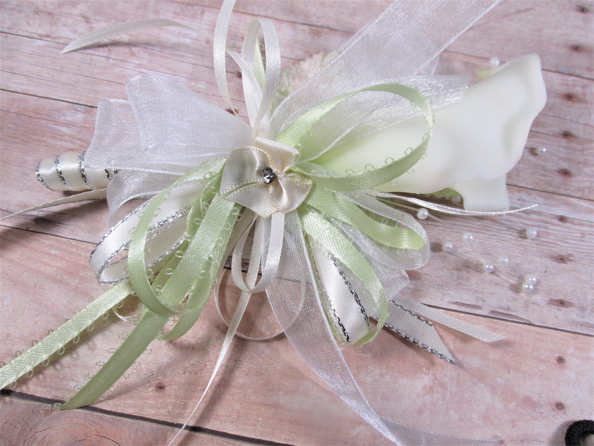 Ivory Spring Green Prom Set with Pearl Beaded Orchids Pearl Wrist Corsage and Boutonniere - Odyssey Creations