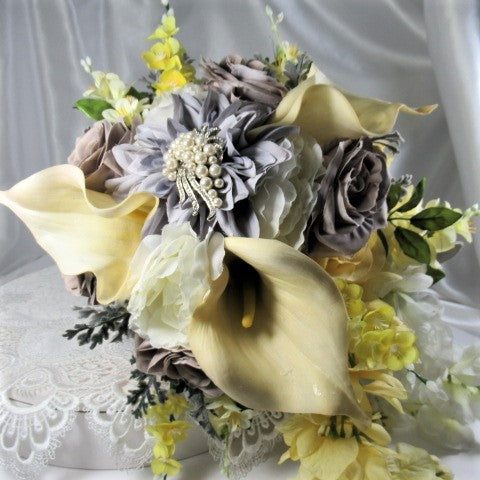 Large Yellow, Gray and White Victorian Detailed Beaded Cascading Bridal Bouquet - Odyssey Creations