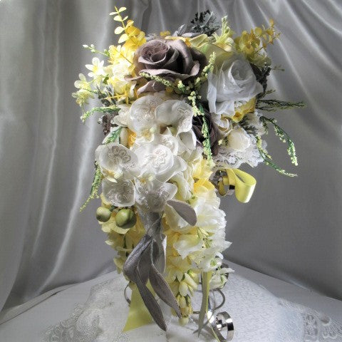 Medium Yellow, Gray and White Detailed Victorian Cascading Bridal Bouquet - Odyssey Creations