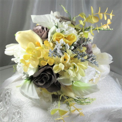 Small Yellow, Gray and White Detailed Victorian Cascading Bridal Bouquet - Odyssey Creations