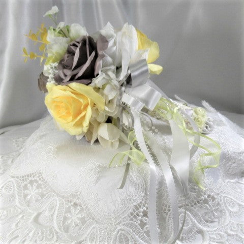 Small Yellow, Gray and White Victorian Bridal or Toss Bouquet - Odyssey Creations
