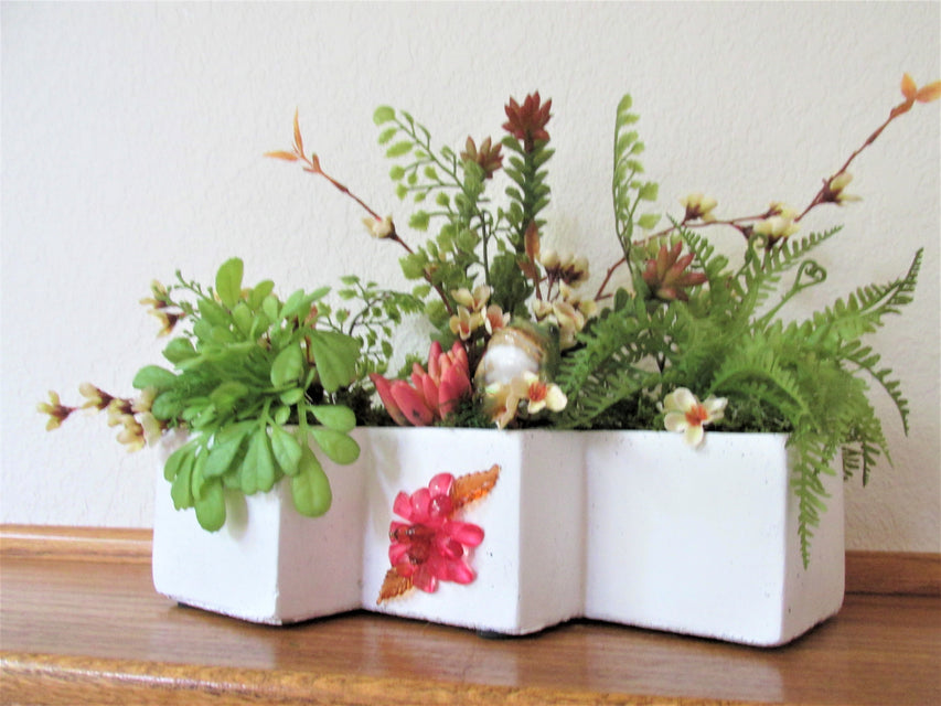 Happy Frog Coral, White Green Artificial Succulent Window Sill, Ledge or Desk Top Arrangement - Odyssey Creations
