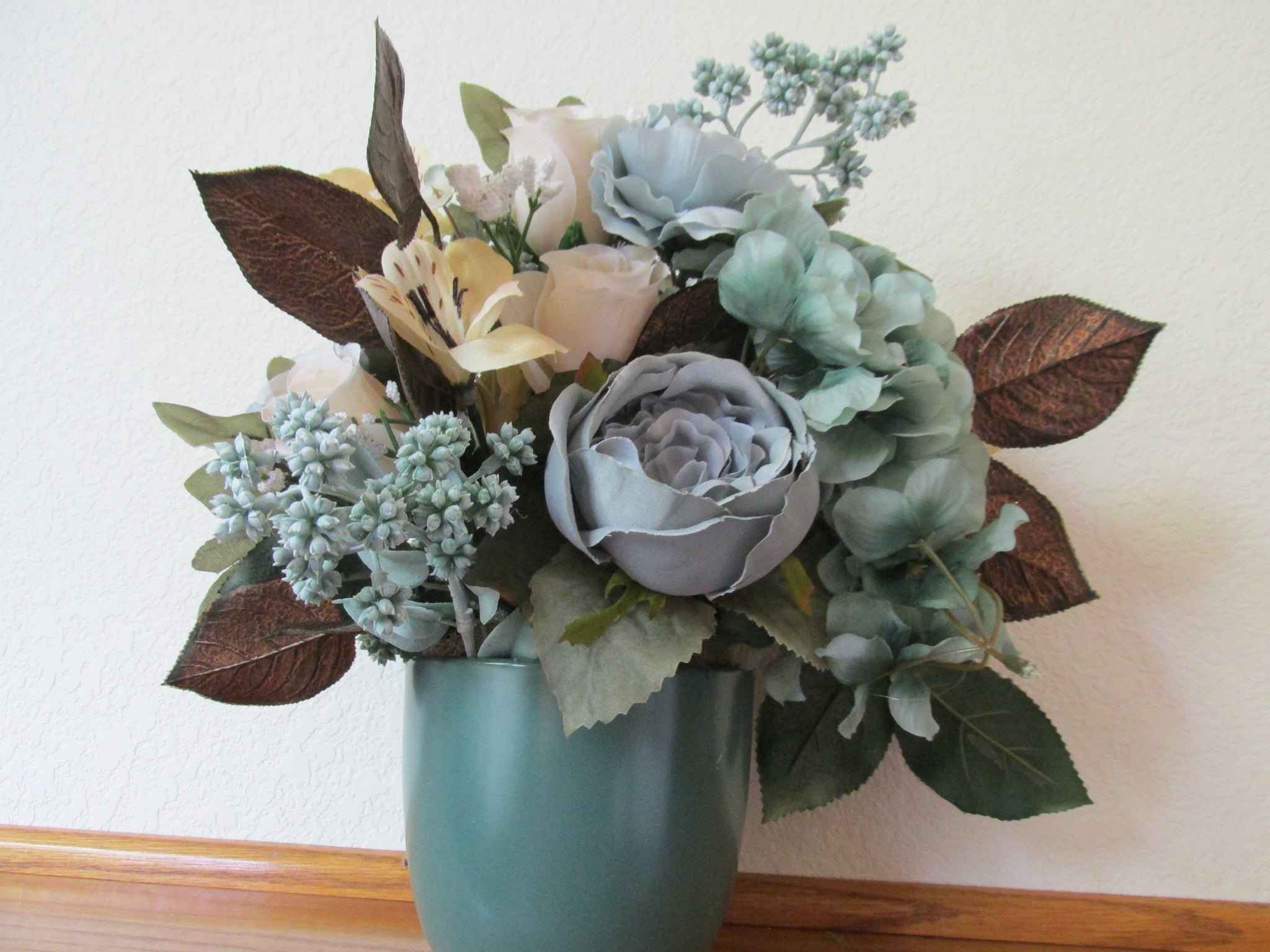 Aqua Seafoam Light Gold, Beige and Copper Brown Silk Fabric Floral Arrangement - Odyssey Creations