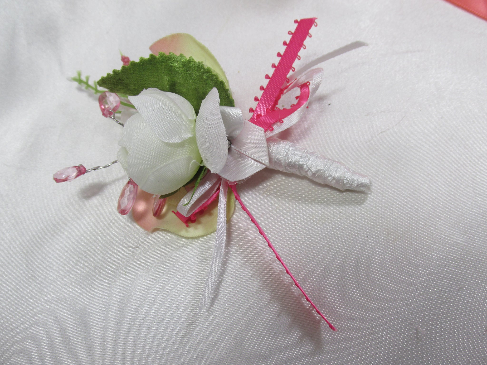 Small Boutonierre in Pink, Coral, Green and White - Odyssey Creations