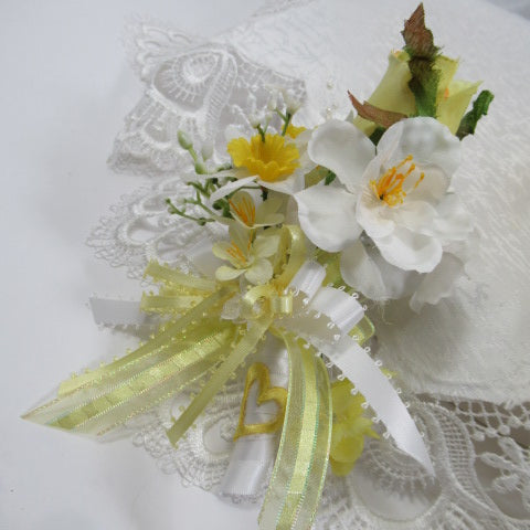 Yellow and White Daffodil and Gray Lambs Ear Victorian Bridal Bouquet and Boutonniere Set - Odyssey Creations