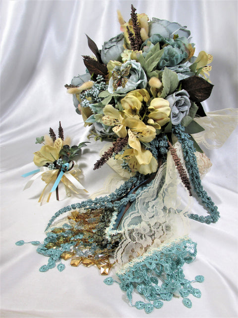 Aqua Seafoam Light Gold, Beige Beaded Bridal Cascading Brooch Bouquet and Boutonniere Set - Odyssey Creations