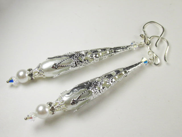 White Pearl and Silver Long Teardrop Earrings on Hammered Sterling Silver Wires - Odyssey Creations