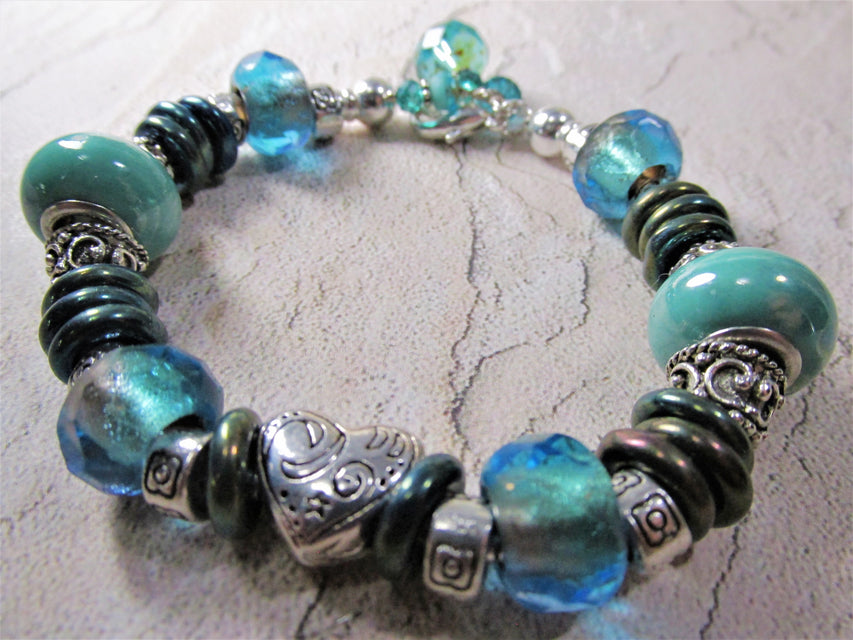 Sea Lovers Green and Blue Turquoise, Antique Silver Beaded Pandora Style Bracelet - Odyssey Creations
