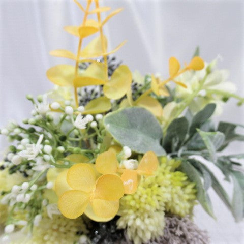 Baby Elephant Yellow, Gray and Sage Faux Succulent and Silk Flower Arrangement - Odyssey Creations