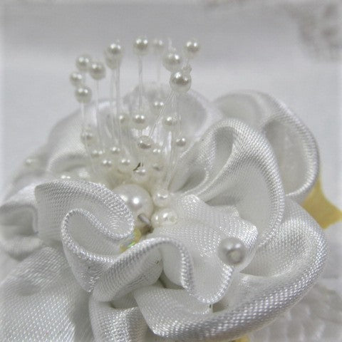 Yellow, Gray and White Bridal Hair Clip or Pin On Corsage with Swarovski Crystals - Odyssey Creations