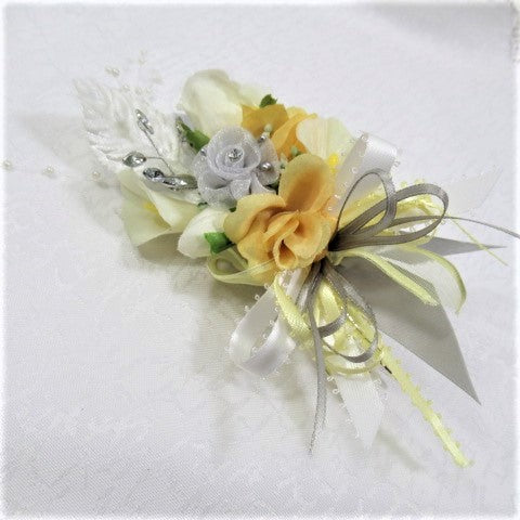 Yellow, Gray and White Boutonniere or Corsage with Silver Accents, Marquise Rhinestone and Mini Calla LIlies - Odyssey Creations