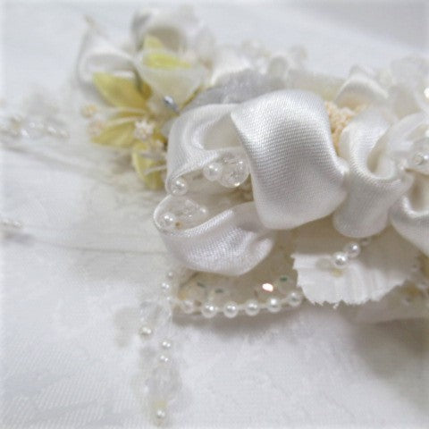 Large Yellow, Gray and White Bridal Hair Comb - Odyssey Creations