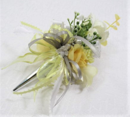 Yellow, Gray and White Silver Magnetic Grooms Boutonniere or Corsage - Odyssey Creations