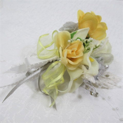 Smaller Yellow, Gray and White Calla Lily Pin On Boutonniere or Corsage - Odyssey Creations