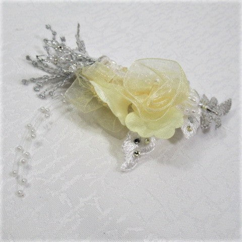 Yellow, Gray and White Fancy Bridal Hair Clip with Swarovski Crystal and Lace Accents - Odyssey Creations