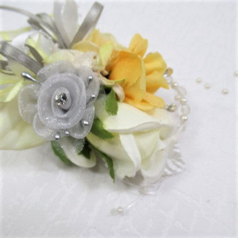 Prom Set in Yellow, Gray and White Orchid, Calla Lily and Rose Pin On Boutonniere and Pearl Wrist Corsage - Odyssey Creations