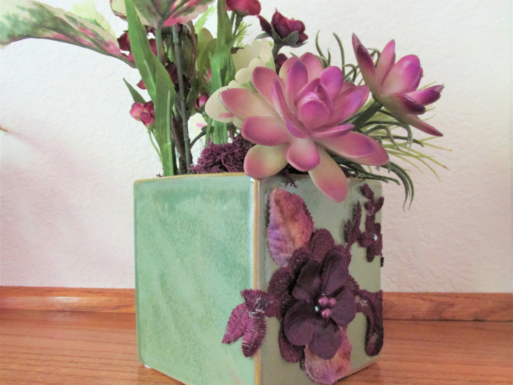 Purple and Green Tall Corner or Shelf Silk Floral and Succulent Arrangement - Odyssey Creations