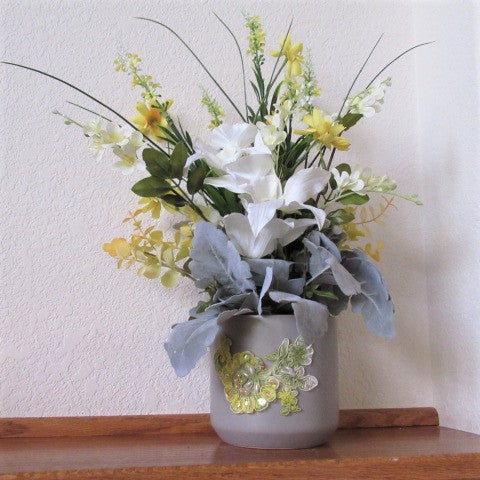 Tall Yellow Coreopsis, White Orchids and Gray Green Lamb's Ear 360 Degree Faux Silk Flower Arrangement - Odyssey Creations