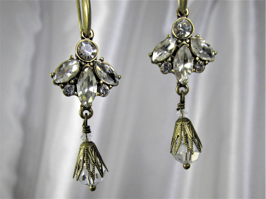 Vintage Inspired  Angel Earrings in Antique Filigree Brass and Clear Crystals - Odyssey Creations
