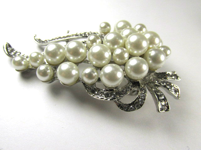 Gold or Silver with Cream Pearls and Clear Crystals Cascading Grape Cluster Style Brooch - Odyssey Creations