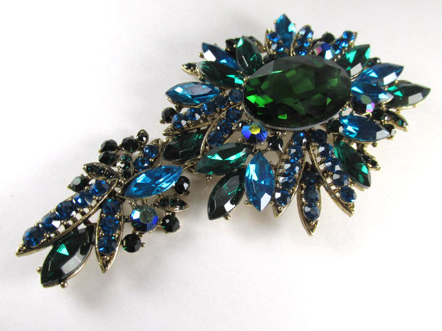 Extra Large Emerald Green, Turquoise Two Piece Hinged Crystal 4.25 Inch Cascading Brooch or Pendant on Gold - Odyssey Creations