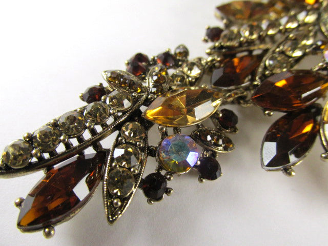 Extra Large Light Topaz and Dark Topaz AB Two Piece Hinged Crystal 4.25 Inch Cascading Brooch or Pendant on Gold - Odyssey Creations