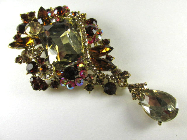 Large Rectangular Light and Dark Brown Topaz and Topaz AB Quality Crystal 3.75 Inch Cascading Teardrop Brooch on Gold - Odyssey Creations