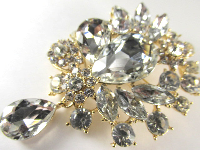Large Clear Crystal 3 Inch Teardrop Brooch on Gold - Odyssey Creations
