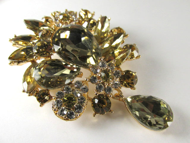 Large Light Gold Topaz Crystal 3 Inch Teardrop Brooch on Gold - Odyssey Creations