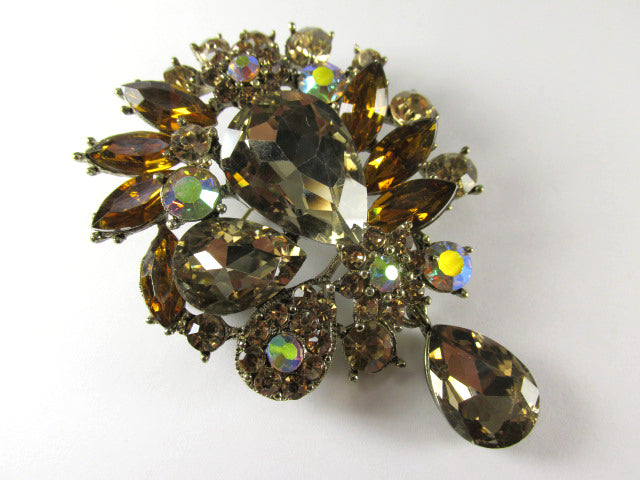 Large Dark BrownTopaz and Crystal AB Quality Crystal 3 Inch Teardrop Brooch on Antique Gold - Odyssey Creations